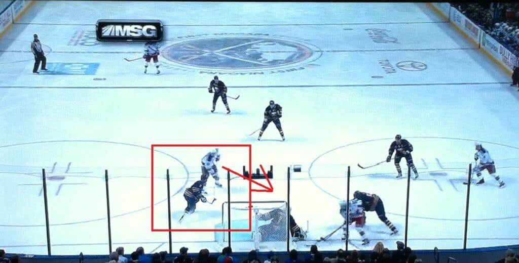Stepan crosses right in front of Leopold, who lets him go.