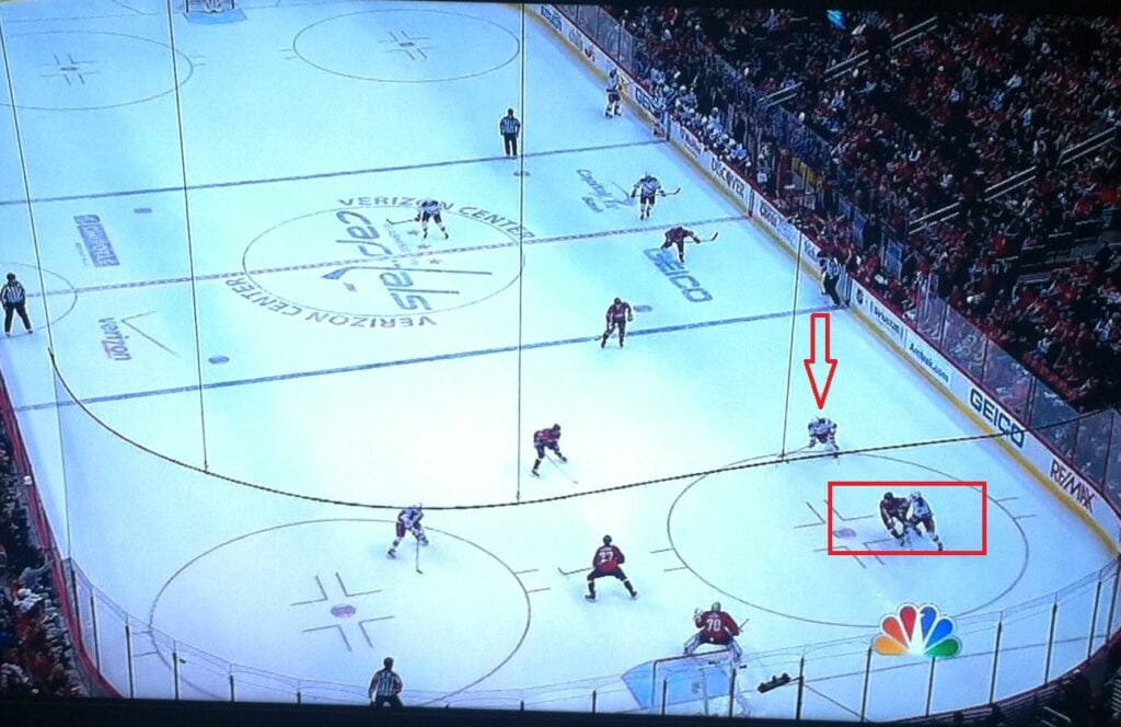 Wide open shot, elects not to shoot, still winds up with goal.