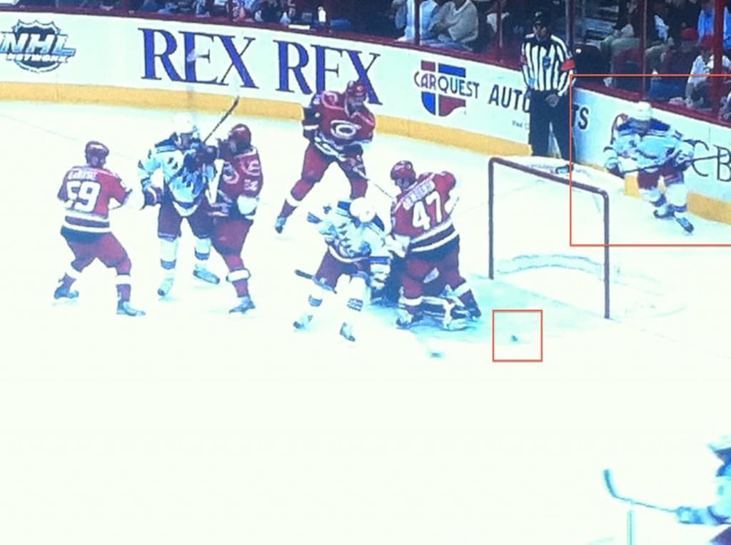Zuccarello distracting in front, loose puck goes unnoticed.