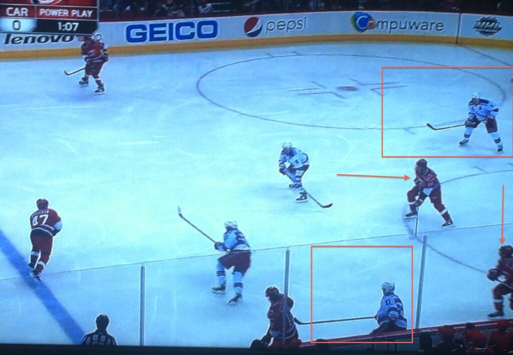 McDonagh in No Man's Land, leaving a two on one down low.