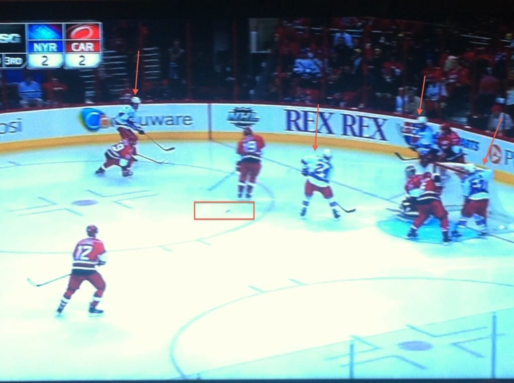 Four deep, lucky bounce right to Eric Staal.