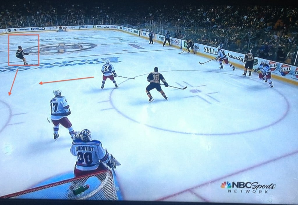 Eminger out of position, Cally has to cover. Weak side is open.