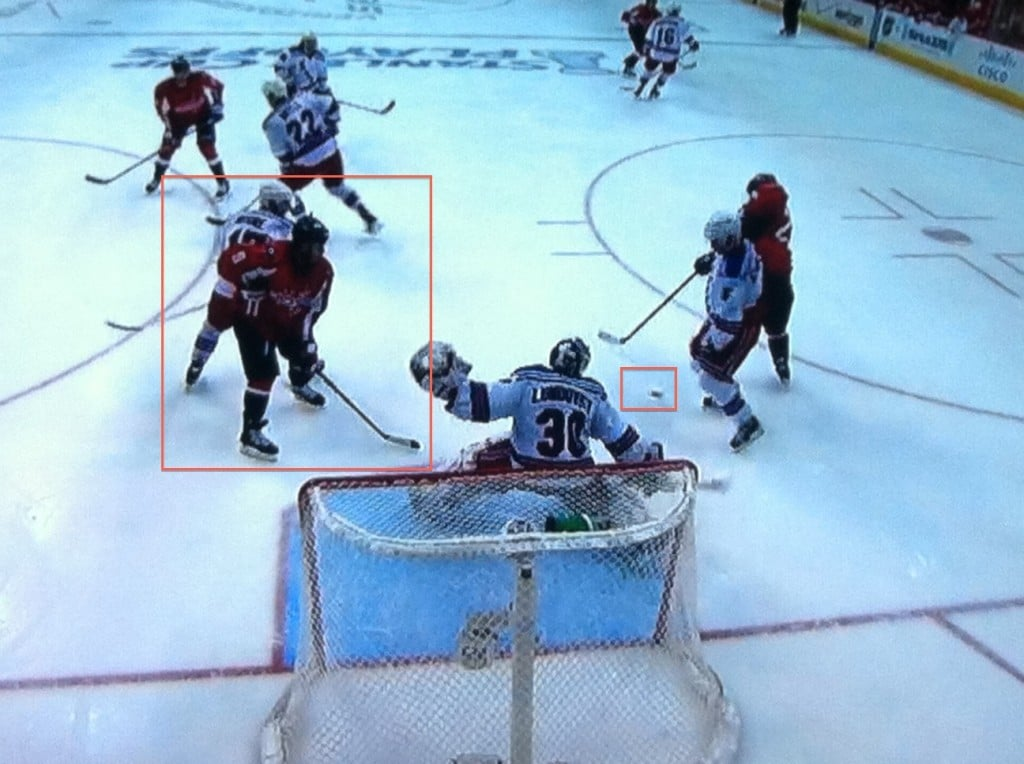 Bad bounce, bad positioning after blocking a shot.