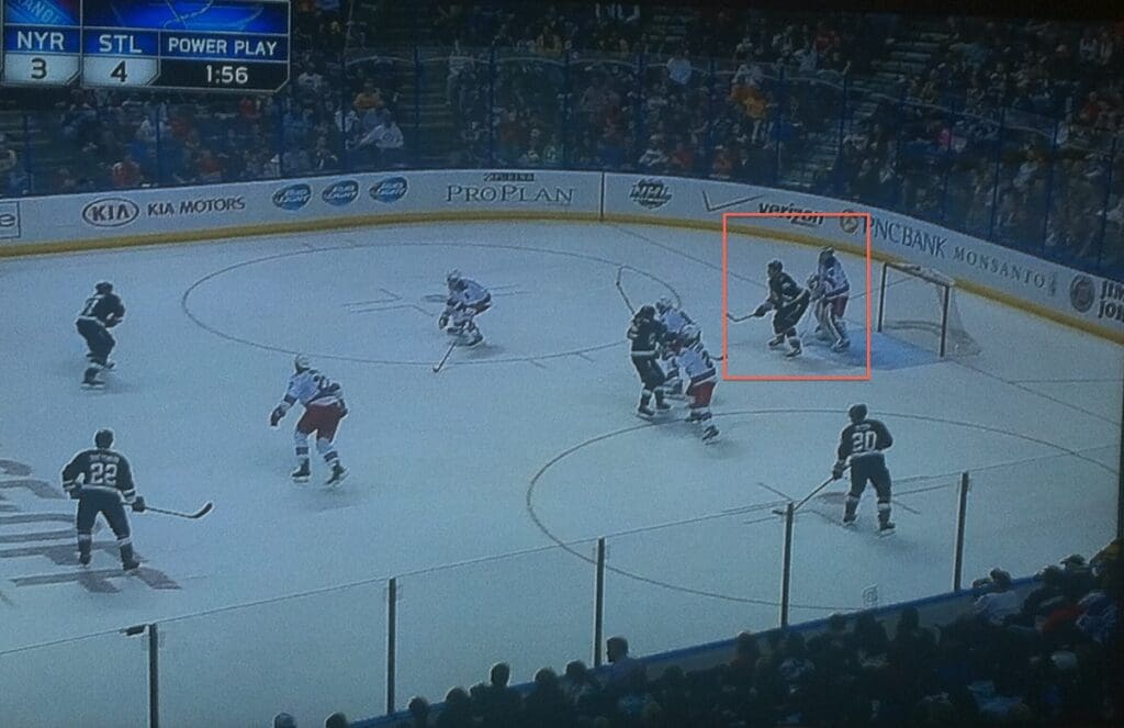 Screen in front, doubt Hank saw this.