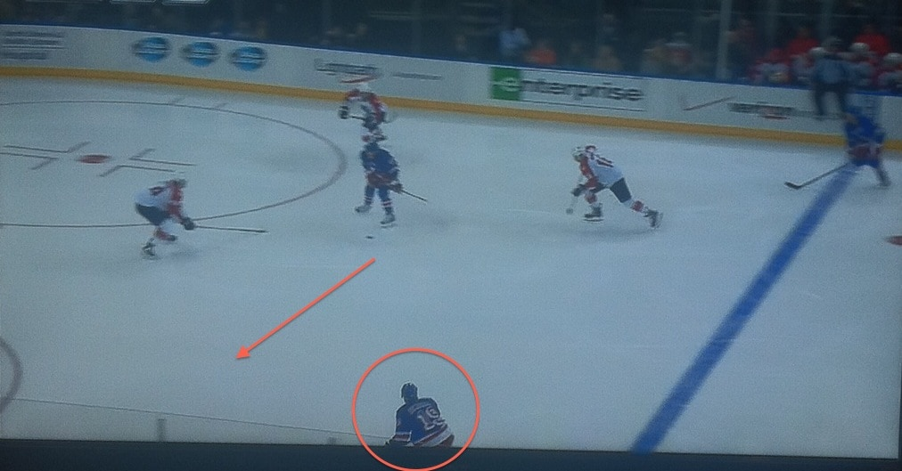 Great read by Hagelin to intercept the pass.