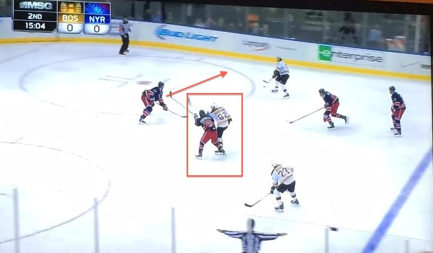 Marchand covered, challenge shot.
