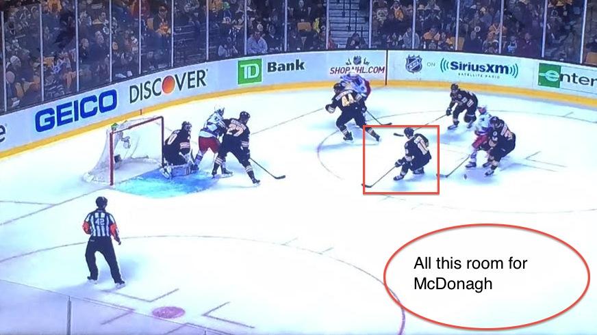 Five Bruins on three Rangers.