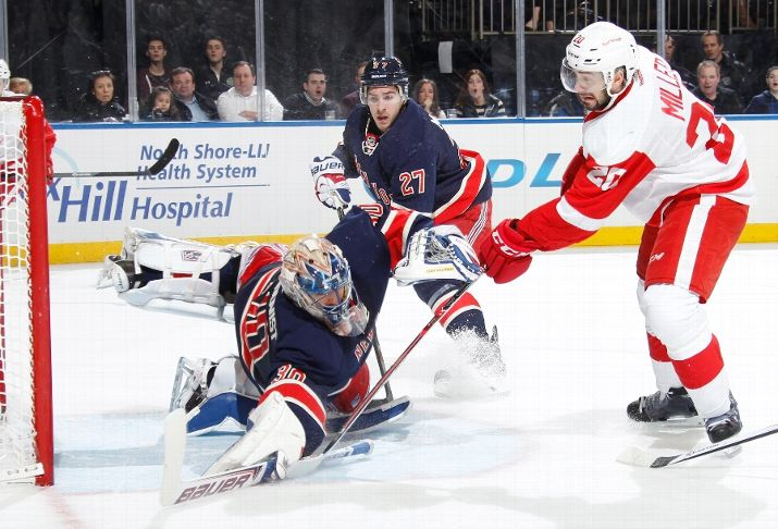 Still have no idea how he got this. (Photo by Scott Levy/NHLI via Getty Images)
