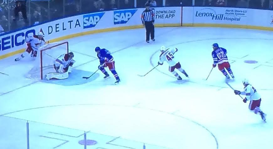 Hockey 101: Don't leave someone this open in front.