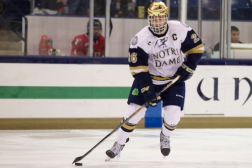 10 Oct 14: Steven Fogarty (Notre Dame - 26). The University of Norte Dame Fighting Irish host the Rensslaer Polytechnic Institute in the second game of the 2014 Icebreaker at the Compton Family Ice Center in South Bend, IN.